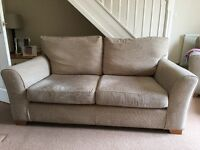 Natural/Beige colour fabric Sofa. Large 2 seater.