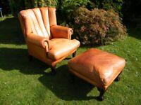 Tetrad Blake leather fluted back armchair + Footstool - Chestnut 🚚🚚