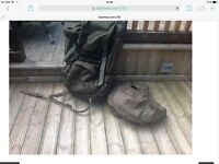 Large heavy duty rucksack and water proof cover