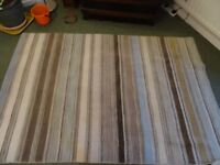 Stripey Rug in neutral colours £25 ONO living room, lounge ?Wool mix Hard wearing