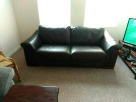 3 seat brown leather Sofa-collect only.