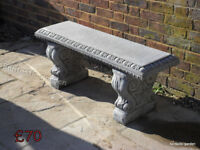 Stone garden ornaments assorted benches