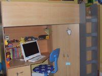 High Sleeper Cabin Bed 'CALDER' with built in desk, wardrobe and ladder
