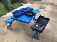 Camping table/bench, stove, fold up bin and 2 chairs