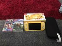 Yellow Nintendo switch lite with games