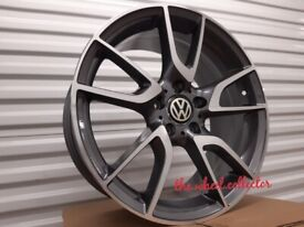 "J17* NEW 4X 18"" GREY ALLOY WHEELS ALLOYS VW GOLF CADDY EOS PASSAT GTD GTI R 5X112"