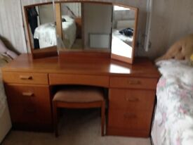 Mid Century style Teak veneer Dressing Table and Stool for sale