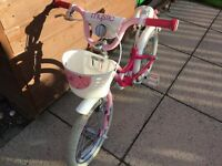 "Girls bike, 16"" wheels, suitable for kids around 105cm tall"