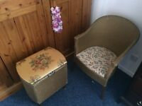 Lloyd loom style chair and basket