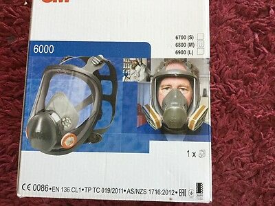 3M 6800 MEDIUM Full Face Mask Respirator + 8 2138 filters  + 6 lens covers NEW