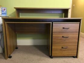 Wooden desk with top shelf, pull-out extra work space and drawers
