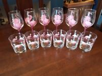 Flamingo Wine/Spirit/juice glasses with pouring bottle