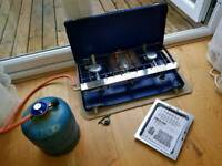 NEW! Campingaz Folding Camping Dual Stove with 907 bottle half full