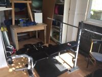 Home gym - bench, 100kg plates, 2x dumbbell, barbell, leg curl, 6 mats, free exercise ball