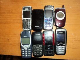 OLD PHONES, ASSORTED, NO CHARGERS