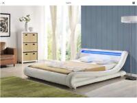 White double bed frame with inbuilt colour LED lights