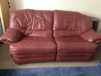 Brown leather two seats recliner sofa