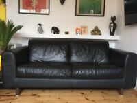 Retro 3-seater Habitat leather sofa for sale with armchair
