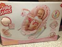 Bright Starts Pink Sugar Blossom 7 Melody Vibrating Baby Chair Bouncer