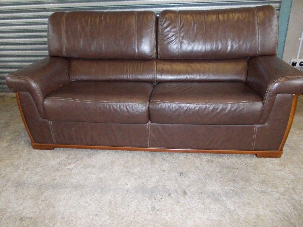 Italian Dark Brown Leather 3 2 1 Suite Sofa