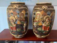 Large satsuma vases. Mid century, vintage