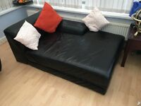 Super soft dark leather chaise lounge