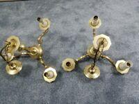2 brass light fittings
