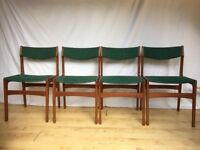 Set of four 4 Danish Teak Mid Century 1960s vintage dining chairs.