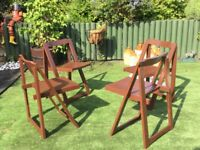 Four Wooden Folding Patio Chairs