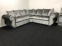 Chesterfield Silver Crushed Velvet Fabric Corner Sofa