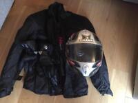 Shark motorcycle helmet, Nortech Jacket and Darbi gloves