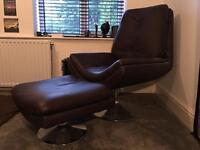 Brown leather chair and foot stool