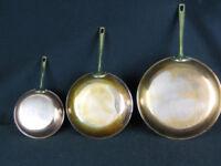 Set of 3 Copper Frying Pans