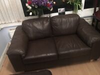 Small chocolate leather sofa - ideal for small spaces!!!
