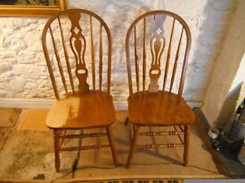 "Big ""Chunky"" Pine Kitchen Chairs x 2 - * Vintage or Shabby Chic - Style Chairs."