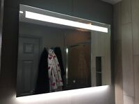 Designer Bathroom Mirror with LED lighting, demister and soft touch switch