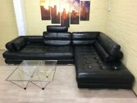 Fantastic Large Black Leather Corner Sofa