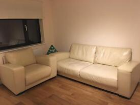 Nearly new leather sofa, 2 double beds, Study table for sell