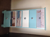 Solid wood, painted, slim chest of drawers