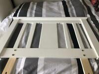 Single bed white wooden headboard