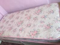 Single divan bed and mattress.