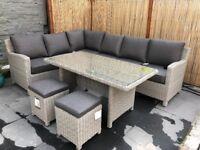 KETTLER Palma 8 Seater Garden Corner Set With Glass Top Table, Whitewash