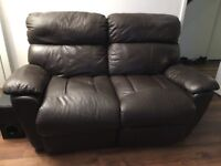 Two 2 seater sofas brown leather