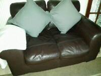 2 seater soft leather brown