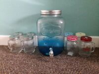 Glass drink dispencer and 8 mason type jars