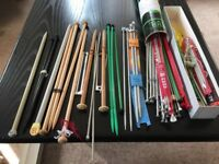 Many knitting needles