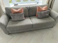DFS Sophia range in grey - 2 x 3 seater sofas and one cuddler chair