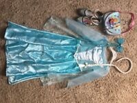 Frozen dress (age 5-6, worn once) and accessories. Shoes size 12.