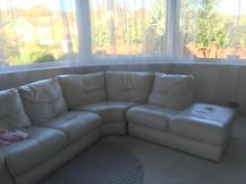DFS cream leather corner sofa unit