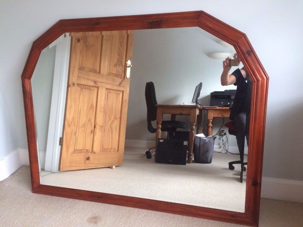 LARGE OVER MANTLE MIRROR IN SOLID PINE VERY NICE LARGE MIRROR ,,FREE LOCAL DELIVERY AVAILABLE